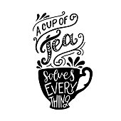 A cup of tea solves everything hand drawn lettering with decorative elements and an elegant cup silhouette. Relaxing calligraphic text for kitchen, home, café, poster, print, apparel. Vector