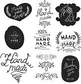 Set of 'Hand Made' labels with sample text. Vector illustration.
