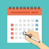 Hand with pen mark calendar. US version with week started on Sunday. Important event. Modern flat design concept for web banners, web sites, printed materials, infographics. Flat vector illustration