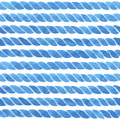 Hand painted background with lines of rope in blue. Seamless vector pattern