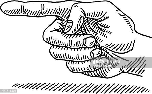 Hand Pointing To The Left Side Drawing
