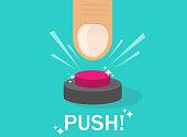 Hand pressing button. Push finger. Flat design. Vector illustration EPS10