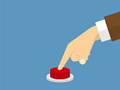 Hand pressing the button. Flat design style. Vector