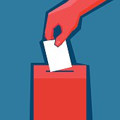 Hand puts ballot in the ballot box. EPS 10 file