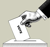 Hand putting voting paper in the ballot box. Vintage engraving stylized drawing. Vector illustration