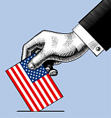 Hand putting voting paper with the US flag. Vintage stylized USA election conceptual drawing. Vector illustration