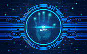 hand scan in futuristic style, vector of handprint with technological theme, concept of cyber security