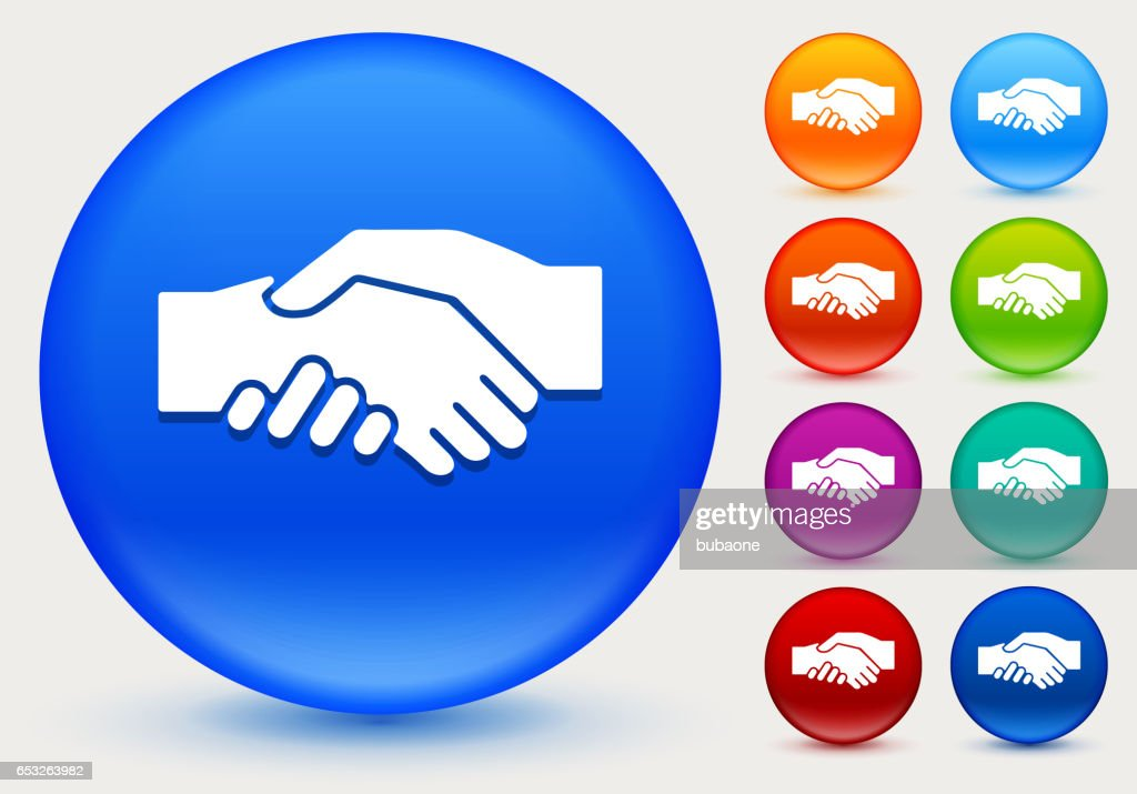 Hand Shake Icon on Shiny Color Circle Buttons : Vector Art