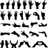 A set of various hand sign gestures and symbols to present different meanings and ideas across.