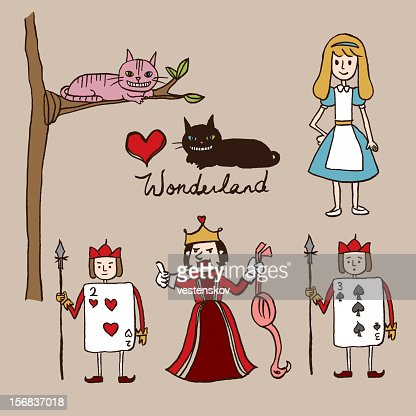 hand sketch alice in wonderland characters