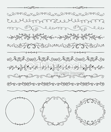 Hand Sketched Seamless Borders Frames Dividers Swirls Vector Art ...