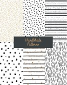Hand drawn textures. Design elements: lines, spots, dots, circles, brushstrokes. Patterns for fabrics or background.