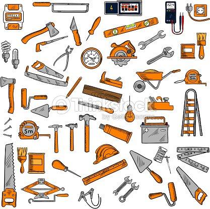 clip art hand tools hand tools and equipments sketch symbols vector art thinkstock