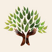 Hand tree art with wood texture and green leaves. Concept illustration for environment care or nature help project. EPS10 vector.