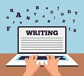 Hand typing on laptop. Vector flat cartoon illustration