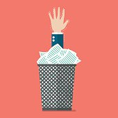 Businessman under a lot of documents in the trash can. Flat style vector illustration