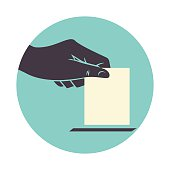 Hand voting, icon, vector illustration, isolated white background