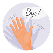Hand waving goodbye vector illustration in round circle isolated on white. Human palm nonverbal gesture meaning bye, parting sign