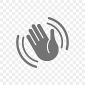 Hand waving vector icon of hello welcome or goodbye gesture