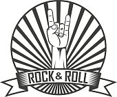 Black and white illustration on the theme of rock music