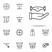 hand with a drone icon. Drones icons universal set for web and mobile on white background