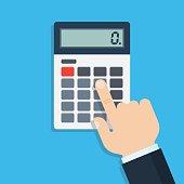 Hand with calculator, flat design, vector illustration