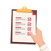 Hand with checklist. Hand holding and completing checklist on clipboard. Business concept. Clipboard with checklist icon. Document list with filled task boxes, survey or test vector illustration.