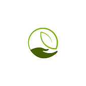 Hand with leaf vector design element, nature care concept