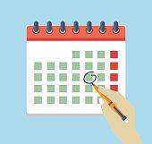 Hand with pen mark calendar. Flat icon. Vector illustration