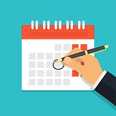 Hand with pen mark calendar. Deadline. Important event. Vector illustration