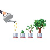 Hand with watering can pouring golden coins cash money to growing tree. Gradual business project development stages. Start up investment growing sprouts. Flat style vector isolated illustration.