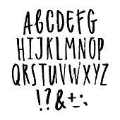 Hand written grunge font. Vector uppercase letters