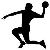 Handball player with the ball in attack. Vector illustration