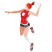 Handball  Summer Games Icon Set.3D Isometric Athlete.Sporting Championship International Handball Competition.Sport Infographic Handball Vector Illustration
