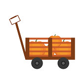 Handcart with pumpkins icon over white background vector illustration