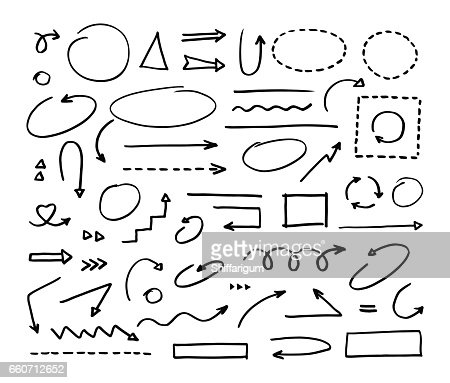 Handcrafted elements. Hand drawn vector arrows set on white background : stock vector