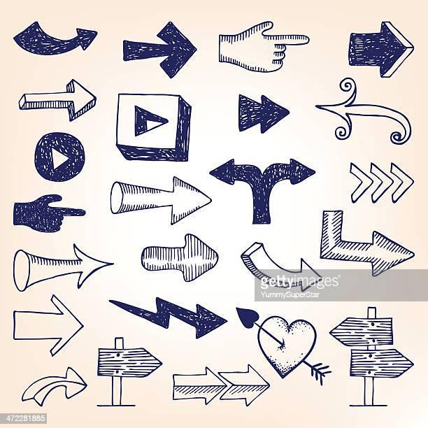 Hand-drawn arrow set