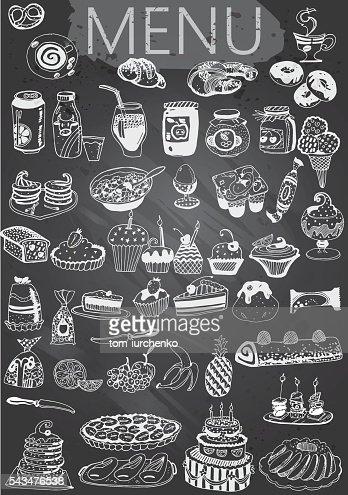 Hand-Drawn Chalkboard Menu with Desserts : stock vector