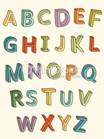 Hand Drawn Colorful 3D Uppercase Letters Vector Art