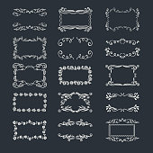 Set of doodle frames and decorations elements