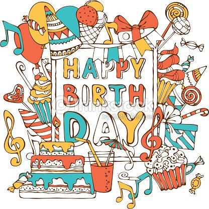 Handdrawn happy birthday card vector art thinkstock hand drawn happy birthday card vector art bookmarktalkfo Gallery