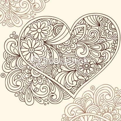 Handdrawn Henna Tattoo Heart Vector Art Thinkstock