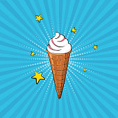 Hand-drawn ice cream on the blue rays background. Vector illustration