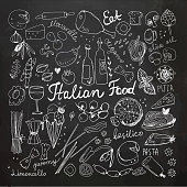 Vector Illustration of Hand-drawn Italian Food Doodles. Pizza, Pasta, Ice Cream, Tomato. Chalkboard Drawing.