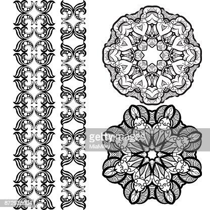Handdrawn Mehendi Ornamental Elements And Mandala Collection Indian