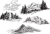 A set of hand-drawn mountains and trees, a waterfall and some clouds.
