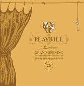 Vector playbill with place for text, theater curtain and theater masks in retro style. Hand-drawn illustration on the theme of modern theatrical art, grand opening