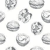 Fresh organic food. Walnuts background. Black and white nut pattern.