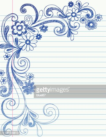 Handdrawn Sketchy Doodle Flower Border Vector Art | Getty ...