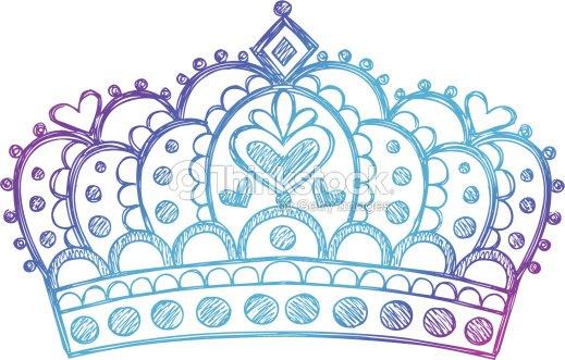 Dessin s la main esquisse doodle princesse couronne - Dessin couronne princesse ...